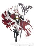 1girl bat batman batman_(cosplay) belt belt_pouch bodysuit boots breasts cape cape_hold cosplay crossover dc_comics full_body harness highres holding holding_staff ji_no mask official_art pouch scarf sinoalice skin_tight small_breasts snow_white_(sinoalice) solo square_enix staff superhero torn_cape torn_clothes white_background white_bodysuit
