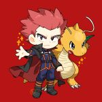 1boy black_cape black_eyes boots bright_pupils cape chibi clenched_hand closed_mouth commentary_request dragonite frown highres jacket kamota_(momokomati) lance_(pokemon) long_sleeves looking_at_viewer male_focus pants pink_hair pokemon pokemon_(creature) pokemon_(game) pokemon_hgss red_background short_hair sparkle spiky_hair standing white_pupils