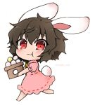 1girl :3 animal_ears barefoot blush brown_hair carrot_necklace dress eating_hair eyebrows_visible_through_hair food_in_mouth hair_between_eyes inaba_tewi looking_at_viewer mochi noai_nioshi pink_dress puffy_short_sleeves puffy_sleeves rabbit_ears rabbit_tail red_eyes ribbon-trimmed_dress short_hair short_sleeves simple_background solo tail touhou twitter_username white_background