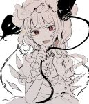1girl ascot bangs black_nails black_ribbon collar collared_dress crystal dress eyebrows_visible_through_hair flandre_scarlet hair_between_eyes hand_up hat hat_ribbon highres jewelry looking_at_viewer mob_cap mozukuzu_(manukedori) one_side_up open_mouth polearm puffy_short_sleeves puffy_sleeves red_eyes ribbon shirt short_hair short_sleeves simple_background sketch smile solo spear symbol-only_commentary touhou weapon white_background white_dress white_hair white_headwear white_neckwear white_shirt white_sleeves wings