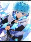 1boy ahoge aqua_hair azna bangs black_bodysuit blue_eyes bodysuit breath chongyun_(genshin_impact) eyebrows_visible_through_hair genshin_impact greatsword highres holding holding_sword holding_weapon hood hood_down ice letterboxed looking_at_viewer male_focus parted_lips snowflakes solo sword talisman twitter_username upper_body vision_(genshin_impact) weapon