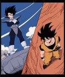 2boys ankle_boots armor arms_at_sides black_border black_eyes black_hair black_wristband blue_bodysuit blue_sky bodysuit boots border clenched_hands closed_mouth clothes_writing clouds cloudy_sky condensation_trail crossed_arms day dougi dragon_ball dragon_ball_z dutch_angle from_above from_below full_body gloves highres kz_(dbz_kz) legs_apart looking_down male_focus messy_hair monkey_tail multiple_boys muscular muscular_male outdoors pectorals perspective rock saiyan_armor serious shadow sideways_glance sky smirk son_goku spiky_hair split_screen standing tail tail_around_waist v-shaped_eyebrows vegeta white_footwear white_gloves wristband