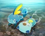 :< afloat blue_eyes bright_pupils closed_eyes closed_mouth commentary_request looking_to_the_side lying no_humans on_back oshawott pokemon pokemon_(creature) purobe sobble swimming white_pupils