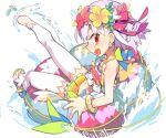 1girl bikini bracelet earrings fate/grand_order fate_(series) flower_earrings from_behind head_wreath innertube jewelry kama_(fate) kama_(swimsuit_avenger)_(fate) negi_(ulog'be) red_eyes shoes silver_hair single_shoe swimsuit thigh-highs twitter_username water