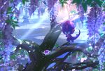 :o banned_artist commentary_request flower hand_up looking_down nihilego nin_(female) no_humans petals poipole pokemon pokemon_(creature) purple_flower standing tree ultra_beast