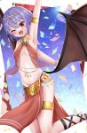 1girl alternate_costume arabian_clothes arm_up armpits bat_wings blush breasts breasts_apart commentary_request confetti emerald_(gemstone) fangs gold_bracelet hair_between_eyes hair_ornament highres jewelry looking_at_viewer navel necklace one_eye_closed open_mouth purple_hair red_eyes remilia_scarlet remitei03 short_hair small_breasts solo sparkle sweat tongue touhou wings
