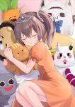 1girl :o absurdres ahoge back_cutout bangs bed bed_sheet bow brown_hair closed_eyes clothing_cutout dress ebi_frion_(natsuiro_matsuri) fue_(lars0713) hair_between_eyes highres hololive lying matsurisu medium_hair miteiru_(shirakami_fubuki) natsuiro_matsuri nekko_(momosuzu_nene) neko_(minato_aqua) object_hug on_side orange_dress poyoyo_(nakiri_ayame) puffy_short_sleeves puffy_sleeves scrunchie short_sleeves side_ponytail sleeping solo stuffed_animal stuffed_toy tiara virtual_youtuber white_scrunchie