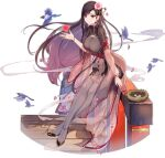 1girl ark_order bird black_dress black_footwear black_hair black_legwear bracelet breasts bridge china_dress chinese_clothes dress earrings egg falling_petals flower hair_flower hair_ornament hair_stick heart jacket jewelry large_breasts long_sleeves looking_at_viewer nest official_art pantyhose petals red_eyes see-through see-through_jacket shoes short_sleeves side_slit sitting smoke solo tachi-e transparent_background you_ni_ge_shaobing zhurong_(ark_order)