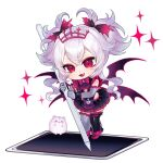 1girl :3 bangs bow cao_hong_anh chibi drawing_tablet elbow_gloves english_commentary eyebrows_behind_hair fang gloves grey_gloves indie_virtual_youtuber leaning_forward looking_down multiple_wings open_mouth pink_bow pink_footwear red_eyes second-party_source silver_hair smile solo thigh-highs tiara virtual_youtuber white_background wings ywuria_(vtuber)