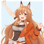 1girl ;d ahoge animal_ears aqua_background arknights arm_up armband blush breasts brown_eyes brown_hair ceobe_(arknights) ceobe_(summer_flowers)_(arknights) commentary dog_ears eyebrows_visible_through_hair fang hand_up highres jacket large_breasts long_hair maiq06 official_alternate_costume one_eye_closed open_clothes open_jacket open_mouth orange_jacket padlocked_collar simple_background skin_fang smile solo upper_body very_long_hair white_background