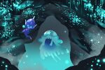 :d banned_artist cave_interior commentary_request floating glowing holding nihilego nin_(female) no_humans open_mouth poipole pokemon pokemon_(creature) smile ultra_beast