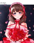 1girl absurdres arm_garter bangs blue_eyes blush bouquet bow brown_hair character_name cross cross_earrings dated earrings eyebrows_visible_through_hair flower frilled_hairband frills hairband happy_birthday highres holding holding_bouquet idolmaster idolmaster_cinderella_girls idolmaster_cinderella_girls_starlight_stage jewelry looking_at_viewer medium_hair necklace petals red_bow red_flower red_ribbon red_rose ribbon rose sakuma_mayu sekia998 smile solo upper_body