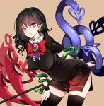 1girl absurdres asymmetrical_wings black_dress black_hair black_legwear blue_wings bow bowtie buttons center_frills dress footwear_bow frilled_dress frills highres houjuu_nue mary_janes nue pointy_ears polearm raptor7 red_bow red_eyes red_footwear red_neckwear red_wings shoes short_dress short_hair short_sleeves snake solo thigh-highs touhou trident weapon wings wristband