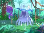 banned_artist commentary_request grass hanging holding jungle leaf nature nihilego nin_(female) no_humans plant poipole pokemon pokemon_(creature) smile standing tree ultra_beast vines