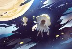 alternate_color banned_artist commentary_request flower flying holding holding_flower moon night nihilego nin_(female) no_humans outdoors petals poipole pokemon pokemon_(creature) shiny_pokemon sky star_(sky) ultra_beast yellow_flower