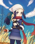 1girl :o absurdres akari_(pokemon) bare_tree black_undershirt blush clouds cyndaquil day eyelashes floating_scarf head_scarf highres holding holding_poke_ball jacket koka12312 leaves_in_wind long_hair looking_at_viewer on_shoulder outdoors pantyhose poke_ball pokemon pokemon_(creature) pokemon_(game) pokemon_legends:_arceus pokemon_on_shoulder ponytail red_scarf sash scarf sidelocks sky standing tree undershirt white_headwear