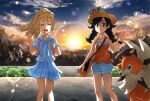 2girls :d backpack bag bangs banned_artist blonde_hair blunt_bangs blush braid closed_eyes closed_mouth clouds commentary_request cosmoem day eyelashes french_braid hand_up high_ponytail holding holding_poke_ball holding_strap legendary_pokemon lens_flare lillie_(pokemon) long_hair lycanroc lycanroc_(dusk) multiple_girls nin_(female) open_mouth outdoors pleated_skirt poke_ball pokemon pokemon_(creature) pokemon_(game) pokemon_usum selene_(pokemon) shirt short_shorts short_sleeves shorts shoulder_bag skirt sky sleeveless sleeveless_shirt smile standing swept_bangs twin_braids white_shirt white_shorts white_skirt