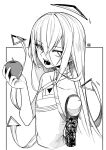 1other androgynous angry_num apple bangs collarbone eyebrows_visible_through_hair fangs food fruit greyscale halo halter_top halterneck highres holding holding_food holding_fruit hololive hololive_english long_hair mechanical_arms monochrome omega_alpha open_mouth single_mechanical_arm triangle_halo virtual_youtuber