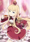 1girl blonde_hair blue_eyes braid crown cup dress epaulettes french_braid head_girl_(ido_(teketeke)) highres holding holding_cup ido_(teketeke) long_hair long_sleeves mini_crown original red_dress sidelocks solo teacup