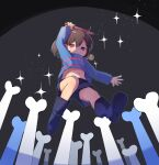 1other bangs black_background black_footwear black_shorts bone boots brown_hair closed_mouth frisk_(undertale) full_body hand_up holding holding_knife holding_weapon jumping kiyu_mashi knife long_sleeves looking_down navel purple_shirt red_eyes shirt short_hair shorts solo star_(sky) striped striped_shirt undertale weapon