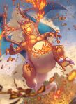 blue_eyes blurry breathing_fire charizard claws clouds commentary_request day fangs fire flying highres no_humans open_mouth outdoors pokemon pokemon_(creature) sky solo spareribs tongue