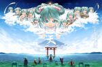 2boys 6+girls anniversary aqua_eyes aqua_hair arms_up artist_name backlighting banner bare_shoulders blonde_hair blue_hair blue_kimono blue_robe bow brown_hair clone clouds commentary cymbals day detached_sleeves drum drumsticks floating flute from_behind hair_bow hakama hakama_skirt hands_together hatsune_miku highres instrument instrument_request japanese_clothes kagamine_len kagamine_rin kaito_(vocaloid) kanji kimono lolita_majin long_hair looking_at_viewer lute_(instrument) megurine_luka meiko miko mikudayoo monk mount_fuji mountainous_horizon multiple_boys multiple_girls multiple_persona ocean open_mouth outdoors outstretched_arms pink_hair praying red_skirt robe scenery shinto shirt shiteyan'yo short_hair skirt sleeveless sleeveless_shirt smile spiky_hair statue t-pose toga torii translated twintails very_long_hair very_wide_shot vocaloid wading white_bow white_shirt white_sleeves wide_sleeves