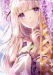 1girl absurdres bangs bare_shoulders braid breasts caron commentary dress emilia_(re:zero) eyebrows_visible_through_hair flower frilled_sleeves frills gem hair_flower hair_ornament hair_ribbon highres huge_filesize large_breasts long_hair long_sleeves looking_at_viewer pointy_ears re:zero_kara_hajimeru_isekai_seikatsu ribbon shiny shiny_hair silver_hair solo symbol-only_commentary violet_eyes white_dress