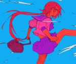 1girl absurdres bag blue_background buttoniris clenched_hands closed_mouth colored_sclera colored_skin from_side high_contrast highres holding holding_bag kicking limited_palette long_hair low_ponytail miniskirt original pink_sclera pink_shirt pleated_skirt profile purple_sailor_collar purple_skirt red_skin red_theme sailor_collar school_uniform serafuku shirt skirt solo standing standing_on_one_leg very_long_hair yellow_eyes