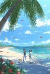 1boy 1girl arm_up banned_artist beanie brown_vest closed_eyes clouds commentary_request day eevee flower green_shorts hat hatted_pokemon ilima_(pokemon) nin_(female) open_mouth outdoors palm_tree pants petals pink_hair pokemon pokemon_(game) pokemon_sm red_headwear rowlet selene_(pokemon) shirt shoes short_shorts short_sleeves shorts sky smile standing tied_shirt tree vest white_footwear white_pants white_shirt yellow_shirt
