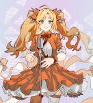 1girl absurdres arknights bangs blonde_hair blue_eyes bow bowtie dress eyebrows_behind_hair hair_ribbon highres long_hair looking_at_viewer microphone official_alternate_costume open_mouth orange_legwear pinecone_(arknights) pinecone_(sing_a_song)_(arknights) renxzd ribbon smile solo teeth thigh-highs twintails white_legwear