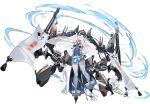 1girl aircraft airplane azur_lane bangs black_footwear black_hair blue_eyes breasts cape earrings eyebrows_visible_through_hair full_body hair_ornament hand_on_hip highres izuru_(timbermetal) japanese_clothes jewelry katsuragi_(azur_lane) long_hair looking_at_viewer machinery official_art open_mouth see-through shiny shiny_hair small_breasts smile solo standing thigh-highs tied_hair transparent_background turret twintails weapon white_legwear