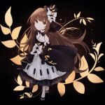 1girl bangs bare_legs black_background black_dress black_footwear black_headwear bow brown_eyes brown_hair commentary deemo dress english_commentary floral_print girl_(deemo) gloves hat highres long_hair looking_at_viewer mini_hat miyu_(miy_u1308) multiple_bows piano_print sandals sidelocks simple_background solo top_hat very_long_hair white_bow white_gloves