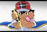 1boy ash_ketchum bangs baseball_cap black_hair blue_jacket brown_eyes clenched_hands closed_mouth commentary dynamax_band energy hands_up hat jacket male_focus pokemon pokemon_(anime) pokemon_swsh_(anime) red_headwear shirt short_hair short_sleeves sleeveless sleeveless_jacket solo spiky_hair sungyeah t-shirt upper_body white_shirt z-ring