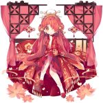 1girl ahoge ark_order bangs bed_frame bed_sheet bug butterfly butterfly_hair_ornament curtains double_bun dress earrings fenghuang_(ark_order) fire flower gold_trim hair_flower hair_ornament hair_stick jewelry long_hair long_sleeves looking_at_viewer official_art orange_eyes pillow red_dress red_footwear redhead sidelocks sitting smile socks solo tachi-e tassel transparent_background tsukimi_(xiaohuasan) very_long_hair white_legwear younger