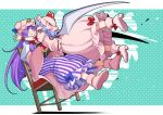 2girls bat_wings blush book boots chair closed_eyes crescent crescent_hat_ornament dotted_background dress eichi_yuu fang hair_ribbon hat hat_ornament jumping light_blue_hair long_hair long_sleeves mob_cap multiple_girls open_mouth patchouli_knowledge pink_dress pointy_ears purple_hair red_ribbon remilia_scarlet ribbon short_hair short_sleeves striped striped_dress touhou violet_eyes wide_sleeves wings wristband