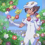 1boy :d aether_foundation_employee aether_foundation_uniform banned_artist blush brown_hair bush comfey commentary_request flower gloves grey_eyes hands_up hat highres holding jumpsuit male_focus nin_(female) open_mouth pokemon pokemon_(creature) pokemon_(game) pokemon_sm purple_flower red_flower short_hair sleeves_rolled_up smile tongue upper_teeth white_flower white_gloves white_headwear white_jumpsuit yellow_flower