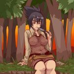 1girl bangs bodysuit breasts brown_eyes brown_jacket fang fishnet_bodysuit fishnets forehead_protector grass hair_between_eyes highres holding holding_weapon in_mouth jacket jewelry kunai long_hair long_sleeves looking_at_viewer mitarashi_anko naruto naruto_(series) navel necklace ninja on_floor open_clothes open_jacket outdoors plague_of_gripes ponytail purple_hair sitting smile sunset tree weapon