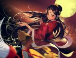 1girl bell black_hair china_dress chinese_clothes coin dress facial_mark floating_hair forehead_mark glint hair_ornament knot light_blush light_particles long_hair mid-autumn_festival moon original red_eyes seloo solo sparkle tsurime