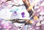 banned_artist blurry cherry_blossoms commentary_request light_rays nihilego nin_(female) no_humans petals poipole pokemon pokemon_(creature) smile tree ultra_beast white_background