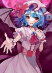 1girl :d ascot bangs bat_wings blue_hair blush bow brooch commentary_request corset cowboy_shot dark_background eyebrows_visible_through_hair flat_chest frilled_shirt_collar frills hand_up hat hat_bow highres ichigo_mogu_15 jewelry looking_at_viewer medium_hair mob_cap nail_polish open_mouth pink_headwear pink_nails puffy_short_sleeves puffy_sleeves reaching_out red_bow red_neckwear remilia_scarlet short_sleeves smile solo touhou violet_eyes wings wrist_cuffs