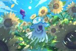 banned_artist clouds commentary_request day flower from_below nihilego nin_(female) no_humans outdoors petals poipole pokemon pokemon_(creature) sky smile sun sunflower ultra_beast