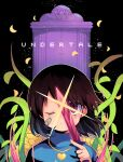 1girl bandage_on_face bandages bangs black_background brown_hair closed_mouth copyright_name flower frisk_(undertale) gate gold_necklace hand_up heart holding holding_knife holding_weapon kiyu_mashi knife long_sleeves looking_at_viewer one_eye_closed plant purple_shirt red_eyes shiny shirt short_hair solo striped striped_shirt undertale upper_body vines weapon