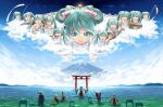 2boys 6+girls anniversary aqua_eyes aqua_hair arms_up artist_name backlighting banner bare_shoulders blonde_hair blue_hair blue_kimono blue_robe bow brown_hair clone clouds commentary cymbals day detached_sleeves drum drumsticks floating flute from_behind hair_bow hakama hakama_skirt hands_together hatsune_miku highres instrument instrument_request japanese_clothes kagamine_len kagamine_rin kaito_(vocaloid) kimono lolita_majin long_hair looking_at_viewer lute_(instrument) megurine_luka meiko miko mikudayoo monk mount_fuji mountainous_horizon multiple_boys multiple_girls multiple_persona ocean open_mouth outdoors outstretched_arms pink_hair praying red_skirt robe scenery shinto shirt shiteyan'yo short_hair skirt sleeveless sleeveless_shirt smile spiky_hair statue t-pose toga torii twintails very_long_hair very_wide_shot vocaloid wading white_bow white_shirt white_sleeves wide_sleeves