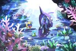 air_bubble banned_artist bubble carvanha clauncher closed_eyes commentary_request coral eyelashes finneon fish legendary_pokemon light_rays looking_at_viewer nin_(female) no_humans pokemon pokemon_(creature) seaweed shellos skrelp tapu_fini underwater wimpod