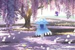 banned_artist commentary_request day flower grass nihilego nin_(female) no_humans outdoors petals poipole pokemon pokemon_(creature) smile standing tree ultra_beast