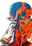1girl black_shorts frown gun highres holding holding_gun holding_weapon ink inkling long_hair orange_eyes orange_hair pointy_ears shirt shorts simple_background sitting solo splatoon_(series) tona_bnkz weapon white_background white_shirt