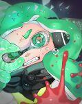 1girl agent_3_(splatoon) black_jacket close-up fangs glass_shards glowing green_eyes green_hair headgear highres inkling jacket long_hair nuinuitoon open_mouth solo splatoon_(series) teardrop tears yellow_jacket