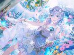 bang_dream! blue_eyes blush kurata_mashiro shirt short_hair silver_hair smile