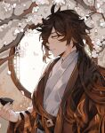 1boy absurdres alternate_costume bangs black_hair blurry blurry_background blurry_foreground branch brown_hair chinese_clothes cup diamond-shaped_pupils diamond_(shape) eyeliner eyeshadow falling_petals flower genshin_impact gradient_hair hair_between_eyes hair_over_one_eye hanfu highres holding holding_cup indoors light lips long_hair long_sleeves makeup male_focus mono-caeli multicolored_hair petals red_eyeshadow smile solo symbol-shaped_pupils teeth tree upper_body white_flower window yellow_eyes zhongli_(genshin_impact)