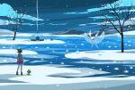 1girl banned_artist bare_tree bob_cut boots brown_footwear brown_hair cable_knit cardigan clouds commentary_request dress frosmoth gloria_(pokemon) green_headwear grey_cardigan grookey hat hooded_cardigan night nin_(female) outdoors pincurchin pink_dress pokemon pokemon_(creature) pokemon_(game) pokemon_swsh short_hair sky snom snow standing tam_o'_shanter tree